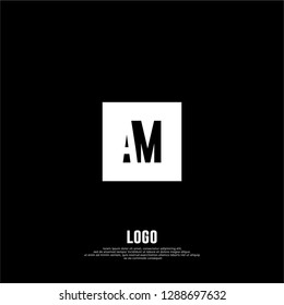 abstract elegant rectangular square shape with AM logo letters design concept