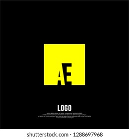 abstract elegant rectangular square shape with AE logo letters design concept