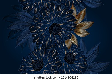 Abstract elegant seamless pattern with hand-drawn chrysanthemums flowers and leaves. Pattern for creating packaging, wallpaper, fabric.