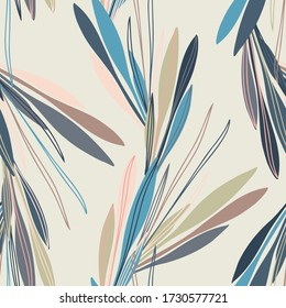 Abstract elegant seamless pattern of lined botanical floral motifs of tangled plants and leaves. Perfect for textiles, shirts, sheets, surfaces, wallpapers, wrapping paper, decorations.