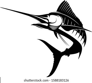 Abstract, Elegant, & Simple Sailfish Jumping out of the water. Great for your saltwater fishing Logo. boat Decal, T shirts,