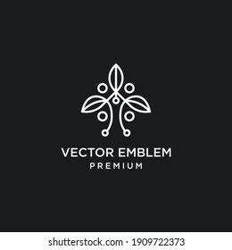 Abstract elegant tree flower line logo icon vector design. Graceful lined vector sign