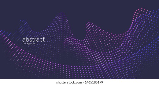 Abstract element with dynamic particles. Vector illustration in flat minimalistic style