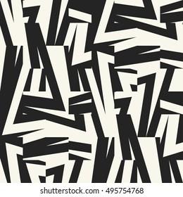 Abstract elements broken geometric motif textured background. Seamless pattern.