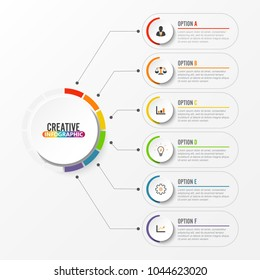 Abstract elements of graph Vector infographic template with label, integrated circles. Business concept with 6 options. For content, diagram, flowchart, steps, parts, timeline infographics, workflow l