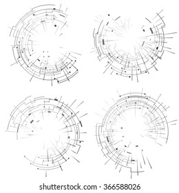 Abstract elements set of circular lines and rays. Collection of graphics for abstract background. Vector illustrations