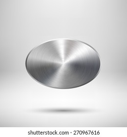 Abstract ellipse badge, blank button template with metal texture (chrome, silver, steel), realistic shadow and light background for web user interfaces, UI, applications and apps. Vector illustration.
