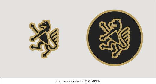 abstract emblem of a fighting lion