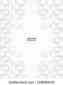 Abstract . Embossed geometric square white background ,light and shadow .Vector