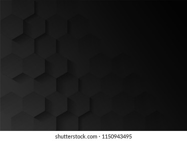 Abstract. Embossed Hexagon , honeycomb black Background ,light and shadow . modern  background. Vector