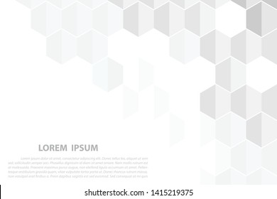 Abstract. Embossed Hexagon , honeycomb white Background. White geometric texture.