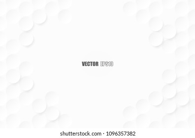 Abstract. Embossed paper circle white Background ,light and shadow ,Vector
