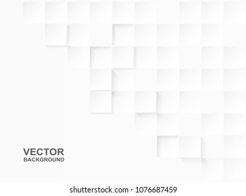Abstract. Embossed paper square white Background ,light and shadow ,Vector