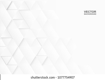 Abstract. Embossed paper triangle white Background ,light and shadow ,Vector