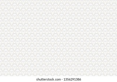 Abstract embossing volume white texture, vector seamless pattern. Depressed round shape background, 3d geometric pattern. Round dot with golden ring backdrop. Futuristic wallpaper. Like a plates