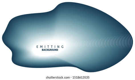 Abstract emitting blumine round shape on white background. Vector graphic template