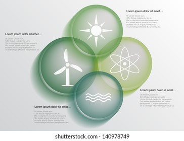 Abstract energy infographic with transparent circles, eps10