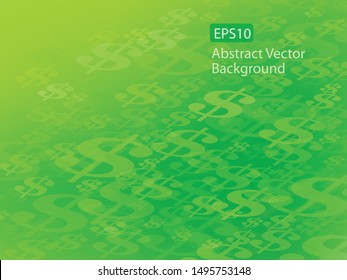 Abstract EPS10 Vector Flowing or Moving Dollar Symbol Green Background. Perfect for all Financial Communications.