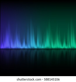 Abstract equalizer background. Blue green wave with reflection. EPS10 vector.