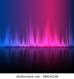 Abstract equalizer background. Blue purple wave reflection. EPS10 vector.