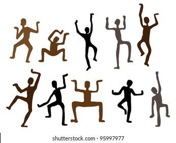 Abstract ethnic dance men. Vector  Illustration