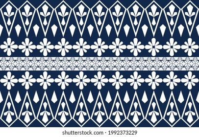 Abstract ethnic geometric pattern design for background or wallpaper.seamless pattern with ethnic borders . Vector  Illustration in asian textile. Ethnic line borders.