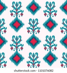 Abstract ethnic ikat chevron pattern background Traditional pattern on the fabric in Indonesia and other Asian countries
