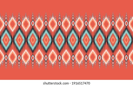 Abstract ethnic ikat chevron pattern background.  ,carpet,wallpaper,clothing,wrapping,Batik,fabric,Vector illustration.embroidery style.