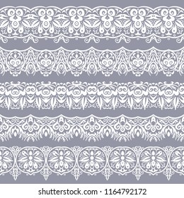Abstract ethnic nature seamless line art stripes set. Ornamental lace vector borders