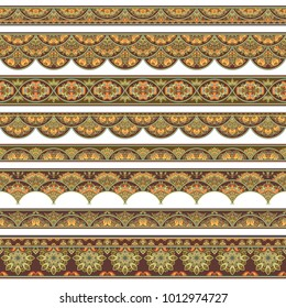 Abstract ethnic nature tile stripes. Ornamental vector borders set