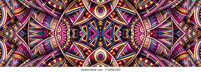 Abstract ethnic rug ornamental seamless pattern. Vector vintage background. Colorful tribal stripe banner design for print on fabric, textile, greeting cards, phone cases, scarves, wrapping paper