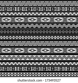 Abstract Ethnic Seamless Geometric Pattern. Vector Background. Black and White. Illustration. Illustrator pattern swatch is available.