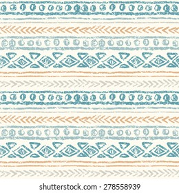 Abstract ethnic seamless pattern, hand draw. Grunge effect.