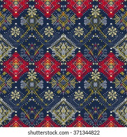 Abstract ethnic seamless pattern. Tribal art boho print, hand drawn vintage ornament. Background texture, wallpaper, wrapping