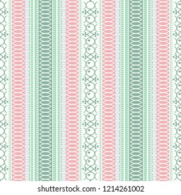 Abstract ethnic seamless pattern, vector illustration, ornamental background. Ornate vertical tracery in pink, green, violet and white colors for fabric design, textiles, wallpaper, tribal art print