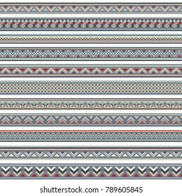 Abstract ethnic stripes. Ornamental vector borders set