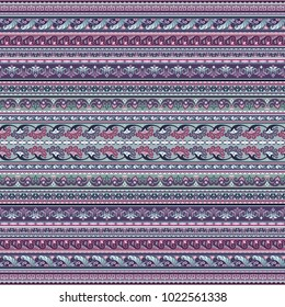 Abstract ethnic stripy ornamental vector background. Seamless pattern