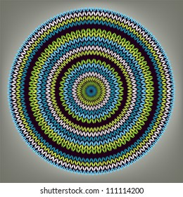 Abstract Ethnic Style Circle Simple Color Vector Needlework Background, Ornamental Round  Geometric Knitted Pattern