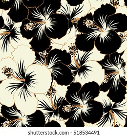 Abstract ethnic vector seamless pattern. Tribal art boho print, vintage black and white flower background. Background texture, wallpaper, floral theme.