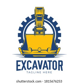 Abstract excavator construction logo collection