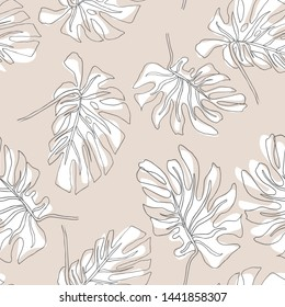 Abstract exotic leaves seamless pattern. Hand drawn tropical summer background: Philodendron monstera, palm leaf contours. Vector art illustration in pastel colors.