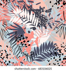 Abstract exotic leaves seamless pattern. Hand drawn tropical summer background: leaf contours, silhouette, splash, splatters, dots. Vector art illustration in vivid colors