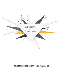 Abstract explosion banner. Lines and Dots Connection Concept. Triangle banner. Vector illustration.