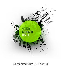 Abstract explosion cloud of green black glass pieces on white background for design template with circle. Grunge vector illustration.