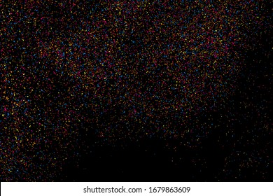 Abstract explosion of confetti. Colorful grainy texture isolated on black background. Colored stains and blots. Vector overlay elements. Digitally generated image. Illustration, EPS 10.