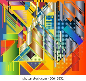 abstract expressionist type image using geometric forms at ninety and forty-five degree angles