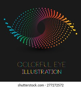 Abstract eye illustration with colorful dotted design concept