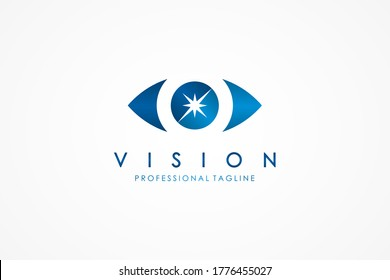 Abstract Eye Logo. Blue Eye in Arrow Style included Eyeball with Star Sparkle inside isolated on White Background. Usable for Business and Technology Logos. Flat Vector Logo Design Template Element