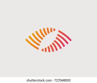 Abstract eye vector logo design. Creative camera shutter media symbol. Photo video control vision logotype.