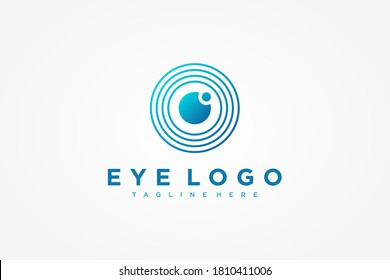 Abstract Eye Vision Logo. Blue Circle Shape Linear Geometric with Eyeball inside isolated on White Background. Usable for Business and Technology Logos. Flat Vector Logo Design Template Element